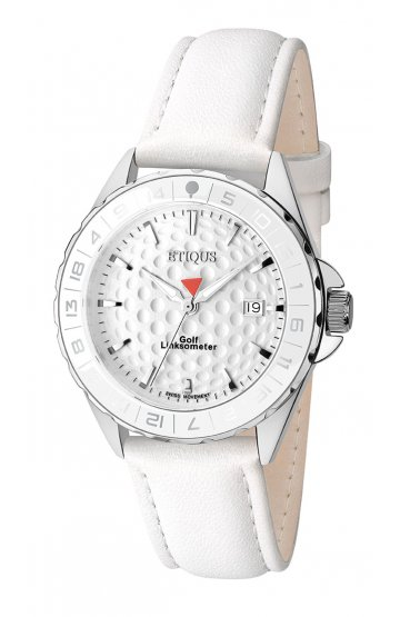 SPORT LADY STAINLESS STEEL WITH WHITE LEATHER STRAP