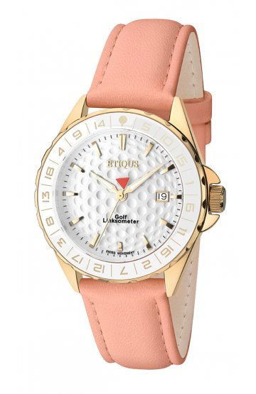 SPORT LADY GOLD PLATED STAINLESS STEEL with PINK LEATHER STRAP