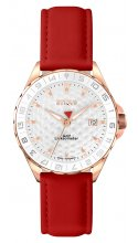 SPORT LADY ROSE GOLD PLATED STAINLESS STEEL with RUBY LEATHER STRAP