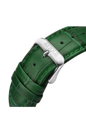 SPORT TOUR GREEN LEATHER strap with GREEN stitch detail and STAINLESS STEEL buckle