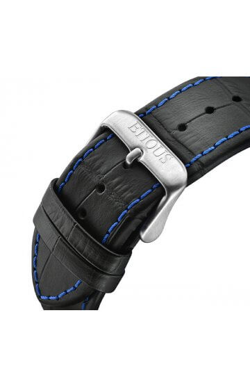 SPORT TOUR BLACK LEATHER strap with BLUE stitch detail and STAINLESS STEEL buckle
