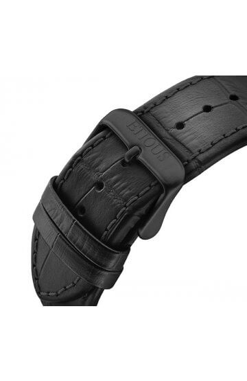 SPORT PRO IONIC BLACK LEATHER strap with BLACK IP buckle