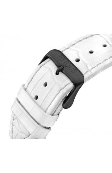SPORT PRO IONIC WHITE LEATHER strap with BLACK IP buckle