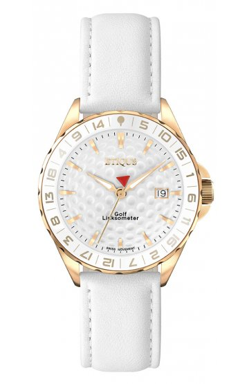 SPORT LADY GOLD PLATED STAINLESS STEEL with WHITE LEATHER STRAP