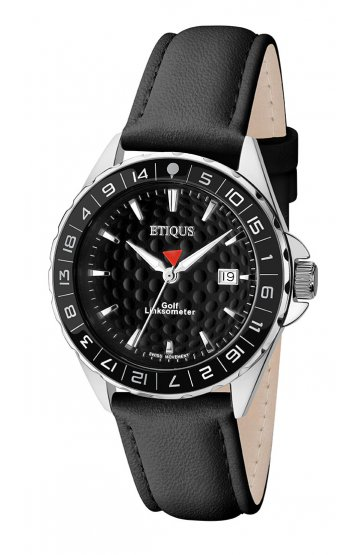 SPORT LADY STAINLESS STEEL (BLACK DIAL) with BLACK LEATHER STRAP