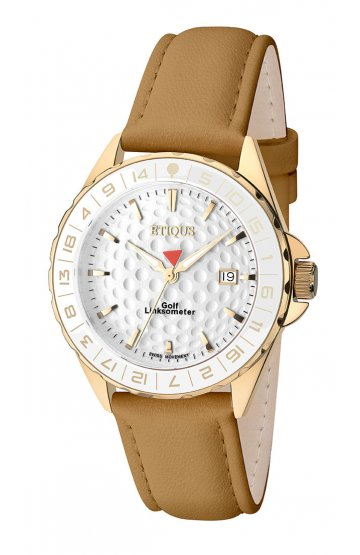 SPORT LADY GOLD PLATED STAINLESS STEEL with CAMEL LEATHER STRAP