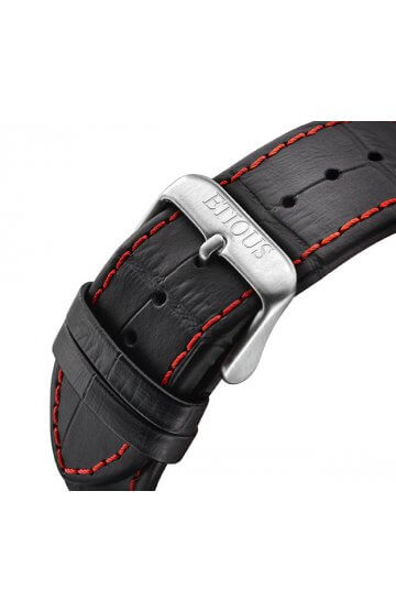 SPORT TOUR BLACK LEATHER strap with RED stitch detail and STAINLESS STEEL buckle