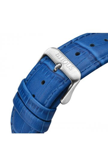 SPORT TOUR BLUE LEATHER strap with BLUE stitch detail and STAINLESS STEEL buckle