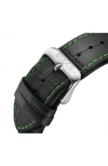 SPORT TOUR BLACK LEATHER strap with GREEN stitch detail and STAINLESS STEEL buckle