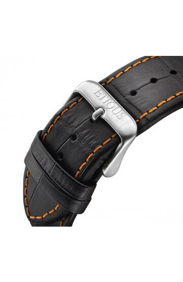 SPORT TOUR BLACK LEATHER strap with ORANGE stitch detail and STAINLESS STEEL buckle