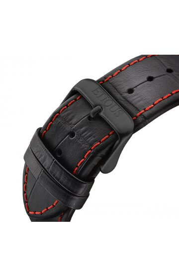 SPORT PRO IONIC BLACK LEATHER strap with RED STITCH detail and BLACK IP buckle