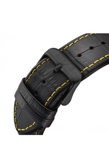 SPORT PRO IONIC BLACK LEATHER strap with YELLOW stitch detail and BLACK IP buckle