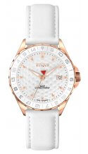SPORT LADY ROSE GOLD PLATED STAINLESS STEEL with WHITE LEATHER STRAP