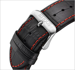Red Stitched Black Leather Strap