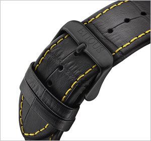Sports Pro Ionic Black Leather with Yellow Stitching Strap